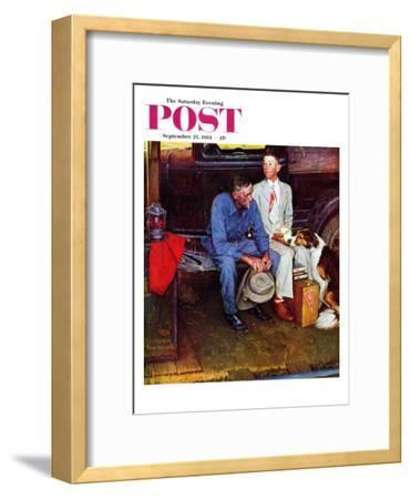 """Breaking Home Ties"" Saturday Evening Post Cover, September 25,1954-Norman Rockwell-Framed Premium Giclee Print"