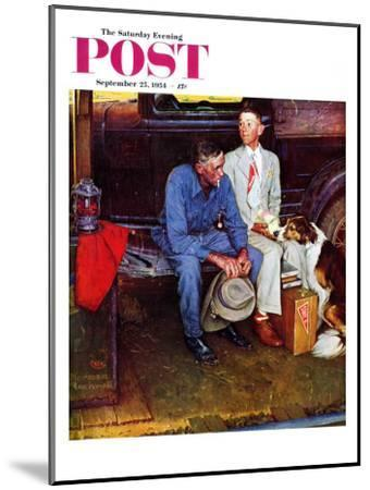 """Breaking Home Ties"" Saturday Evening Post Cover, September 25,1954-Norman Rockwell-Mounted Premium Giclee Print"