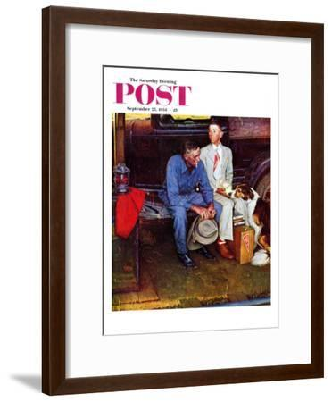 """Breaking Home Ties"" Saturday Evening Post Cover, September 25,1954-Norman Rockwell-Framed Giclee Print"