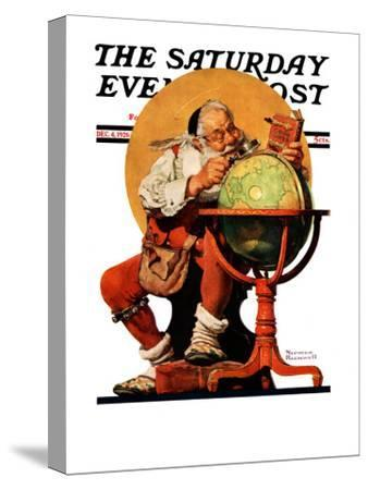 """Santa at the Globe"" Saturday Evening Post Cover, December 4,1926-Norman Rockwell-Stretched Canvas Print"