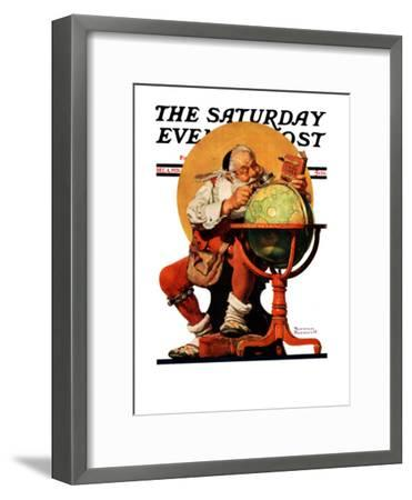 """Santa at the Globe"" Saturday Evening Post Cover, December 4,1926-Norman Rockwell-Framed Giclee Print"