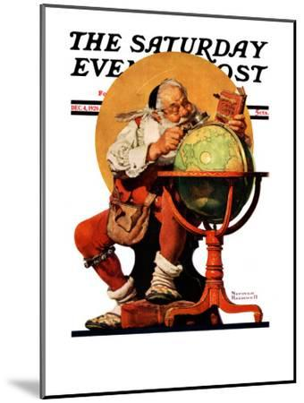 """Santa at the Globe"" Saturday Evening Post Cover, December 4,1926-Norman Rockwell-Mounted Giclee Print"