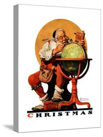 """Santa at the Globe"", December 4,1926-Norman Rockwell-Stretched Canvas Print"