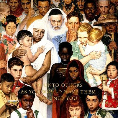 """""""Golden Rule"""" (Do unto others), April 1,1961-Norman Rockwell-Premium Giclee Print"""