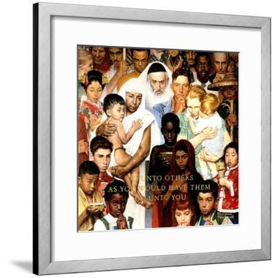 """Golden Rule"" (Do unto others), April 1,1961-Norman Rockwell-Framed Premium Giclee Print"
