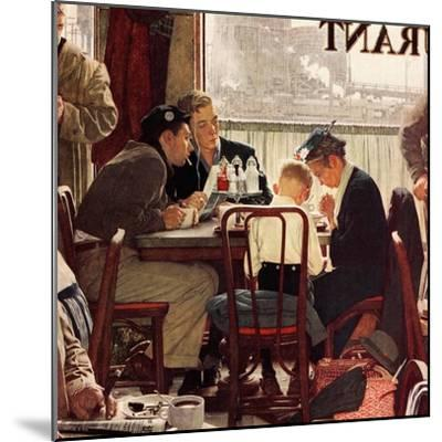 """Saying Grace"", November 24,1951-Norman Rockwell-Mounted Premium Giclee Print"