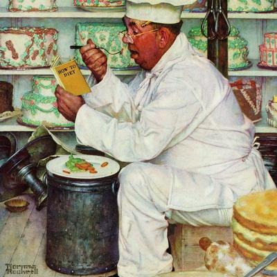 """""""How to Diet"""", January 3,1953-Norman Rockwell-Premium Giclee Print"""