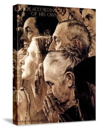 """""""Freedom of Worship"""", February 27,1943-Norman Rockwell-Stretched Canvas Print"""