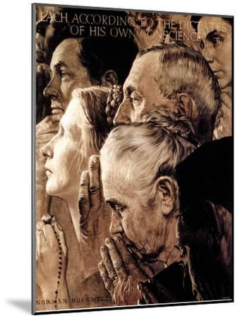 """""""Freedom of Worship"""", February 27,1943-Norman Rockwell-Mounted Giclee Print"""