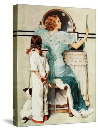 """Going Out"", October 21,1933-Norman Rockwell-Stretched Canvas Print"