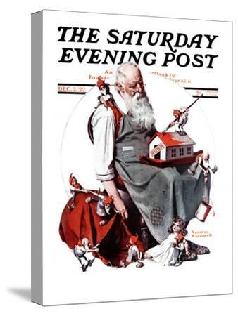 """""""Santa with Elves"""" Saturday Evening Post Cover, December 2,1922-Norman Rockwell-Stretched Canvas Print"""