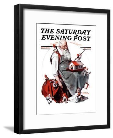 """""""Santa with Elves"""" Saturday Evening Post Cover, December 2,1922-Norman Rockwell-Framed Giclee Print"""