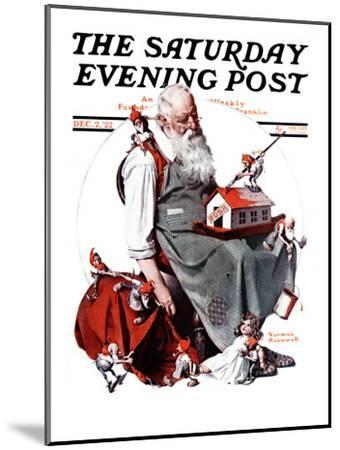 """""""Santa with Elves"""" Saturday Evening Post Cover, December 2,1922-Norman Rockwell-Mounted Giclee Print"""