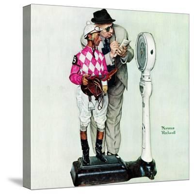 """""""Jockey Weighing In"""", June 28,1958-Norman Rockwell-Stretched Canvas Print"""