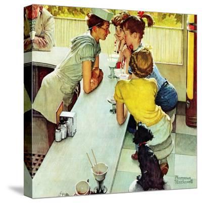 """""""Soda Jerk"""", August 22,1953-Norman Rockwell-Stretched Canvas Print"""