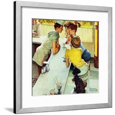 """""""Soda Jerk"""", August 22,1953-Norman Rockwell-Framed Premium Giclee Print"""