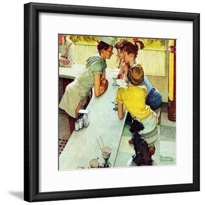 """""""Soda Jerk"""", August 22,1953-Norman Rockwell-Framed Giclee Print"""