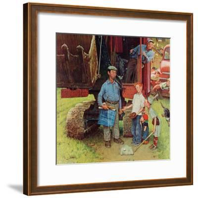 """Construction Crew"", August 21,1954-Norman Rockwell-Framed Giclee Print"