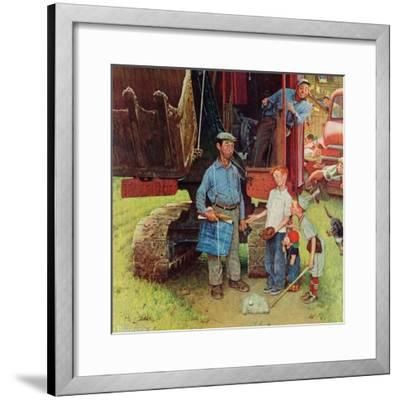 """""""Construction Crew"""", August 21,1954-Norman Rockwell-Framed Giclee Print"""