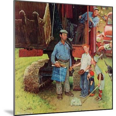 """Construction Crew"", August 21,1954-Norman Rockwell-Mounted Giclee Print"