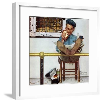 """""""Lion and His Keeper"""", January 9,1954-Norman Rockwell-Framed Giclee Print"""