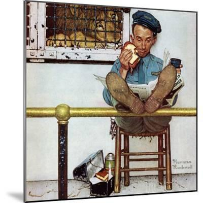 """""""Lion and His Keeper"""", January 9,1954-Norman Rockwell-Mounted Giclee Print"""