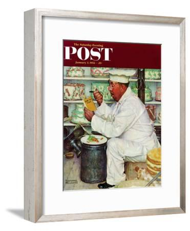 """""""How to Diet"""" Saturday Evening Post Cover, January 3,1953-Norman Rockwell-Framed Giclee Print"""