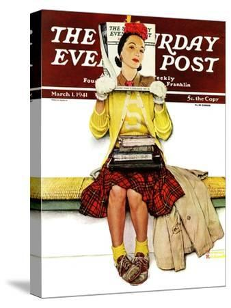 """""""Cover Girl"""" Saturday Evening Post Cover, March 1,1941-Norman Rockwell-Stretched Canvas Print"""