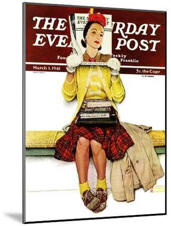 """""""Cover Girl"""" Saturday Evening Post Cover, March 1,1941-Norman Rockwell-Mounted Premium Giclee Print"""
