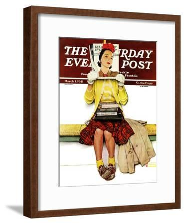 """""""Cover Girl"""" Saturday Evening Post Cover, March 1,1941-Norman Rockwell-Framed Premium Giclee Print"""