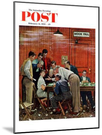 """Jury"" or ""Holdout"" Saturday Evening Post Cover, February 14,1959-Norman Rockwell-Mounted Premium Giclee Print"