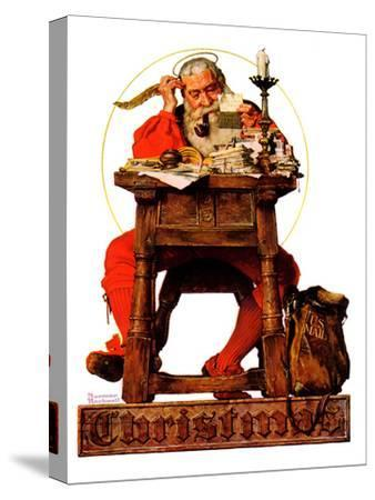"""""""Santa at His Desk"""", December 21,1935-Norman Rockwell-Stretched Canvas Print"""