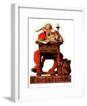 """Santa at His Desk"", December 21,1935-Norman Rockwell-Framed Premium Giclee Print"