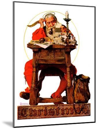 """Santa at His Desk"", December 21,1935-Norman Rockwell-Mounted Premium Giclee Print"