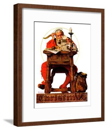 """Santa at His Desk"", December 21,1935-Norman Rockwell-Framed Giclee Print"