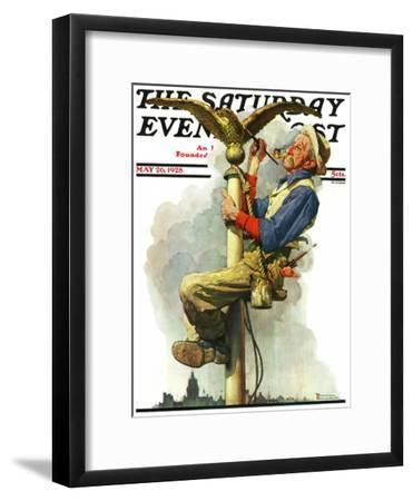 """""""Gilding the Eagle"""" or """"Painting the Flagpole"""" Saturday Evening Post Cover, May 26,1928-Norman Rockwell-Framed Giclee Print"""