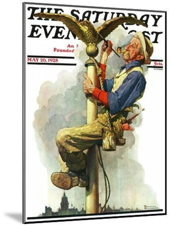 """""""Gilding the Eagle"""" or """"Painting the Flagpole"""" Saturday Evening Post Cover, May 26,1928-Norman Rockwell-Mounted Giclee Print"""