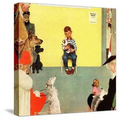 """""""At the Vets"""", March 29,1952-Norman Rockwell-Stretched Canvas Print"""