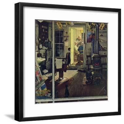 """Shuffleton's Barbershop"", April 29,1950-Norman Rockwell-Framed Giclee Print"