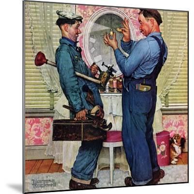 """Plumbers"", June 2,1951-Norman Rockwell-Mounted Premium Giclee Print"