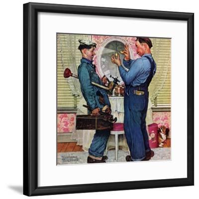 """Plumbers"", June 2,1951-Norman Rockwell-Framed Giclee Print"