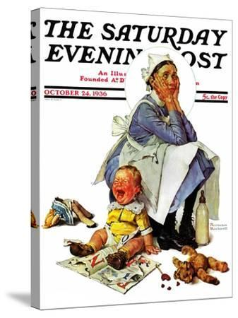 """""""Exasperated Nanny"""" Saturday Evening Post Cover, October 24,1936-Norman Rockwell-Stretched Canvas Print"""
