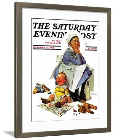 """""""Exasperated Nanny"""" Saturday Evening Post Cover, October 24,1936-Norman Rockwell-Framed Giclee Print"""