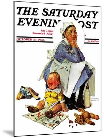 """""""Exasperated Nanny"""" Saturday Evening Post Cover, October 24,1936-Norman Rockwell-Mounted Giclee Print"""