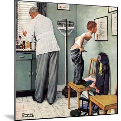 """""""Before the Shot"""" or """"At the Doctor's"""", March 15,1958-Norman Rockwell-Mounted Premium Giclee Print"""