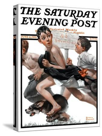 """No Swimming"" Saturday Evening Post Cover, June 4,1921-Norman Rockwell-Stretched Canvas Print"