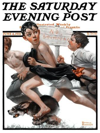 """""""No Swimming"""" Saturday Evening Post Cover, June 4,1921-Norman Rockwell-Giclee Print"""