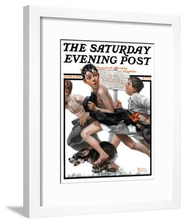 """No Swimming"" Saturday Evening Post Cover, June 4,1921-Norman Rockwell-Framed Giclee Print"