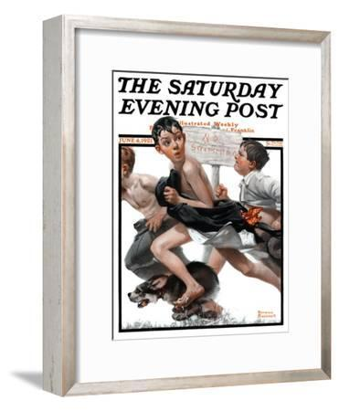 """""""No Swimming"""" Saturday Evening Post Cover, June 4,1921-Norman Rockwell-Framed Giclee Print"""