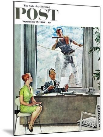 """""""Window Washer"""" Saturday Evening Post Cover, September 17,1960-Norman Rockwell-Mounted Giclee Print"""